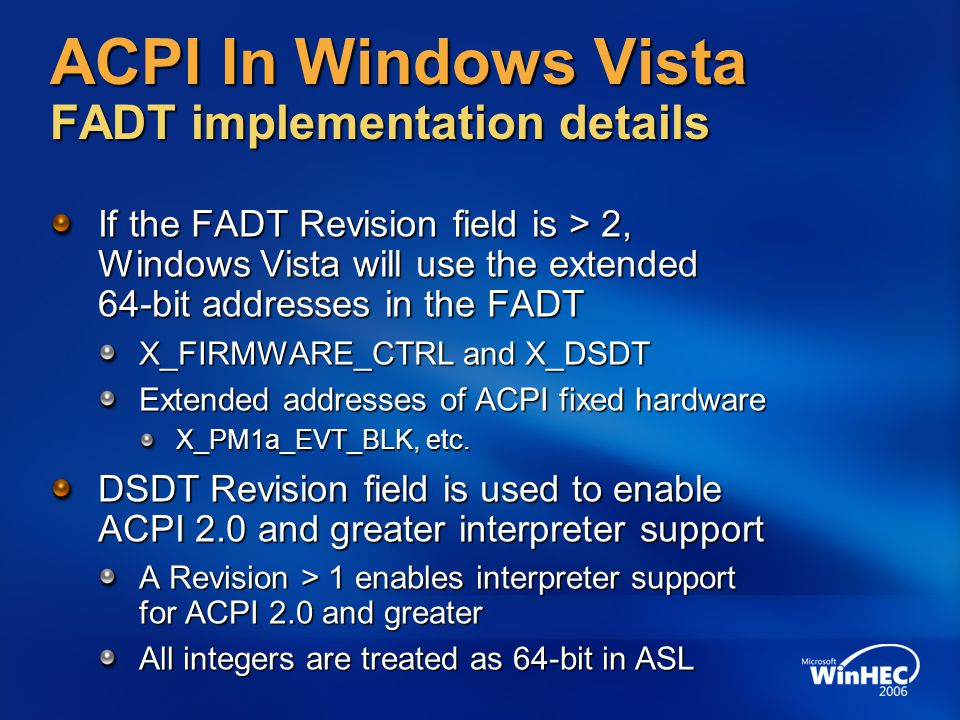 ACPI In Windows Vista FADT implementation details