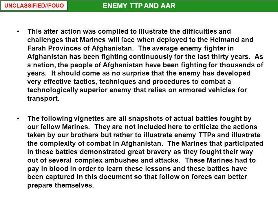 ENEMY TTP AND AAR