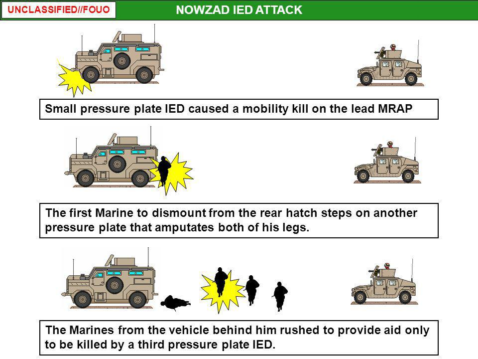 NOWZAD IED ATTACK Small pressure plate IED caused a mobility kill on the lead MRAP.