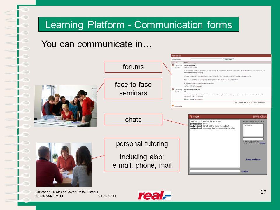 Learning Platform - Communication forms