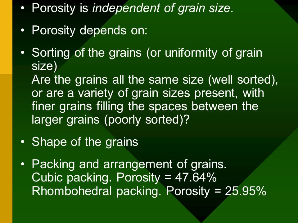 Porosity is independent of grain size.