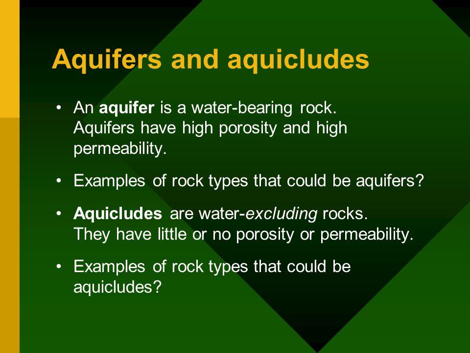 Aquifers and aquicludes