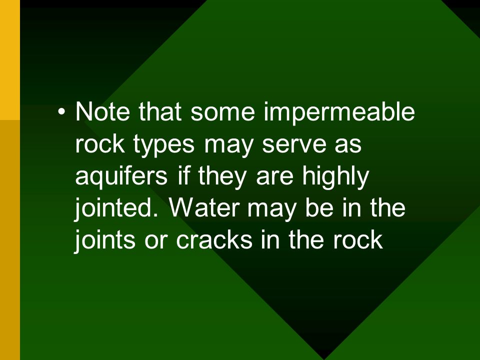 Note that some impermeable rock types may serve as aquifers if they are highly jointed.
