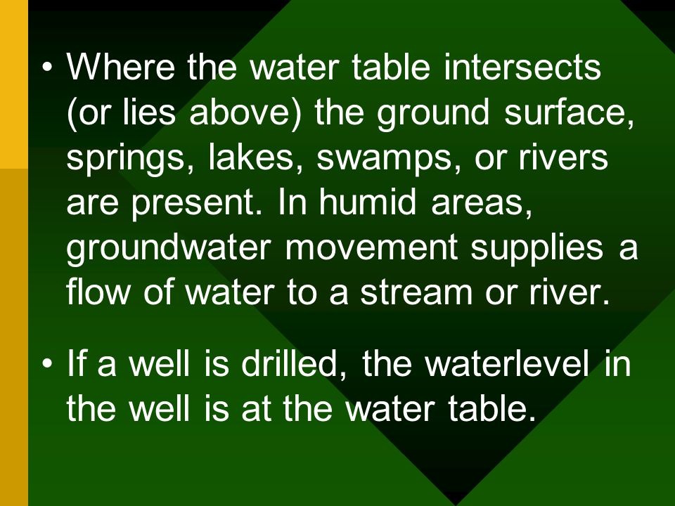 Where the water table intersects (or lies above) the ground surface, springs, lakes, swamps, or rivers are present. In humid areas, groundwater movement supplies a flow of water to a stream or river.