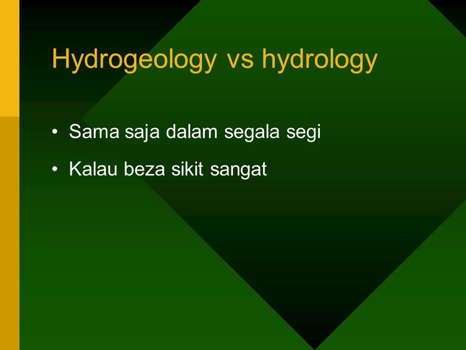 Hydrogeology vs hydrology