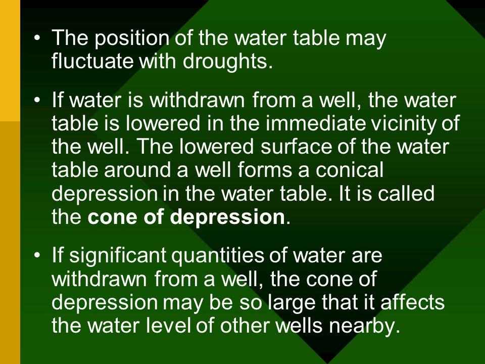 The position of the water table may fluctuate with droughts.
