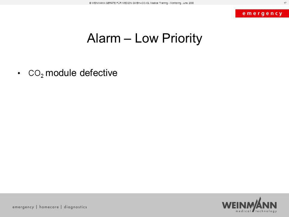Alarm – Low Priority CO2 module defective