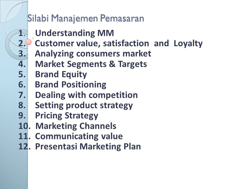 Silabi Manajemen Pemasaran