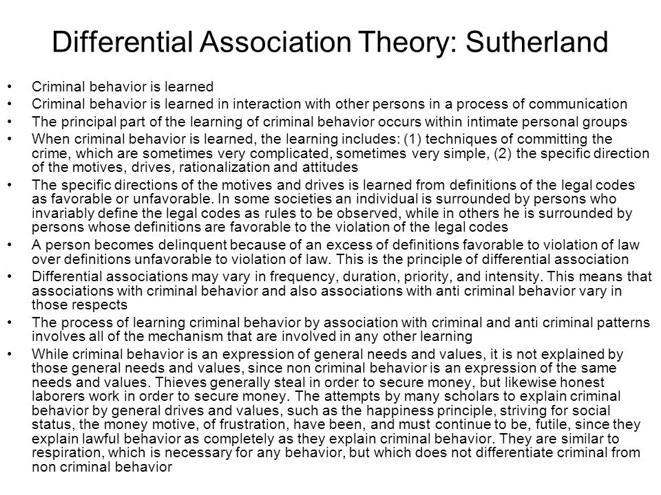 Differential Association Theory: Sutherland