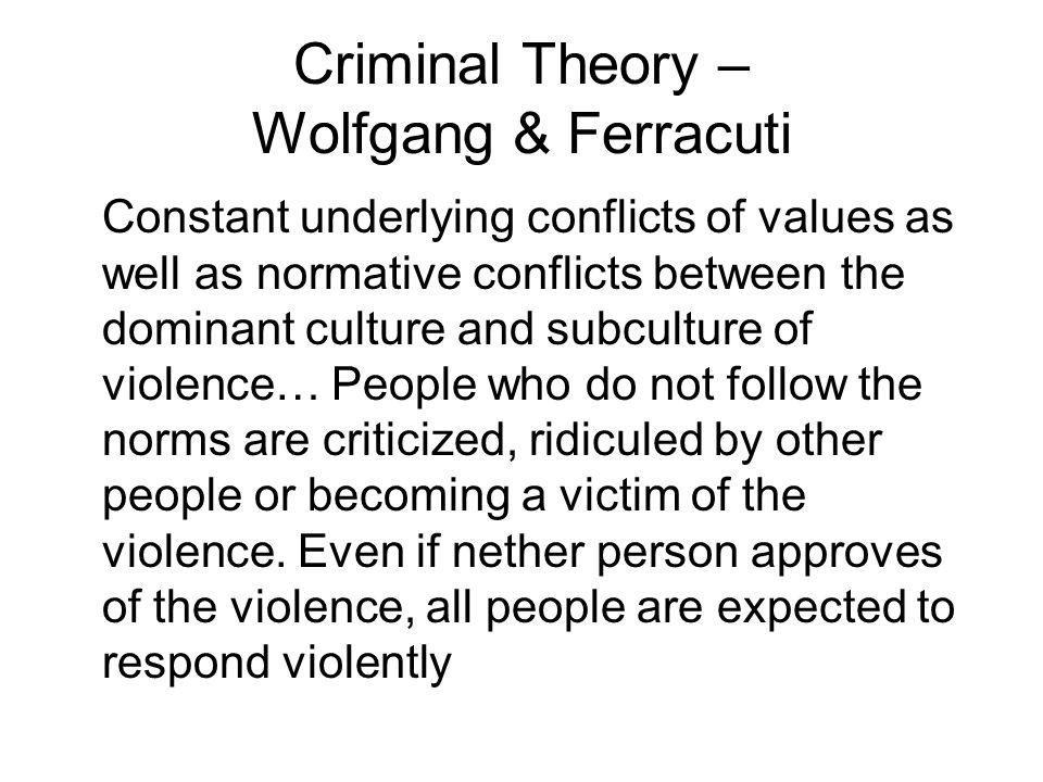 Criminal Theory – Wolfgang & Ferracuti