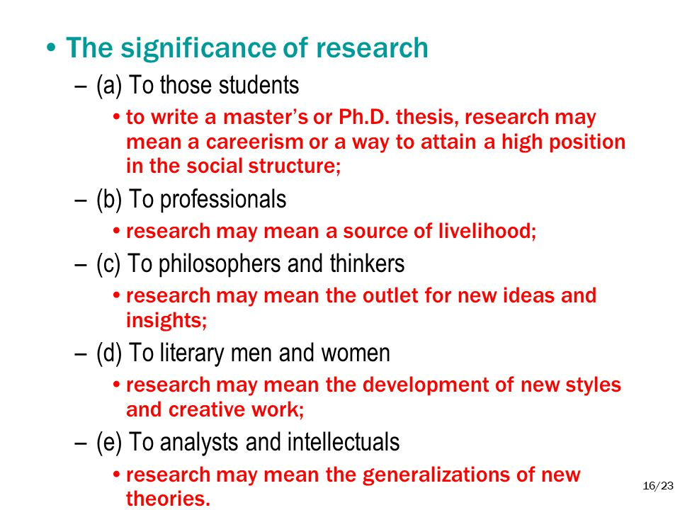 The significance of research