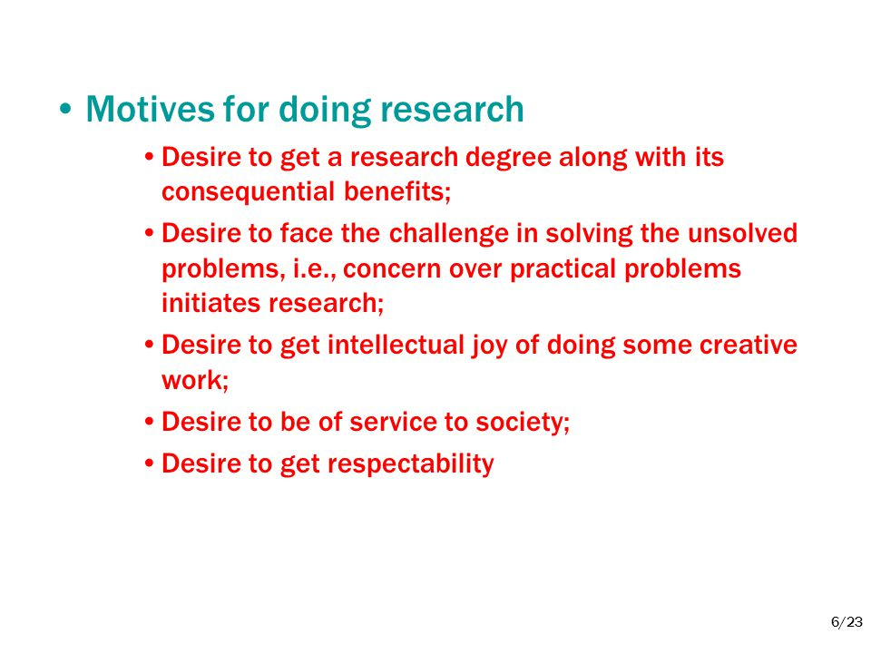 Motives for doing research