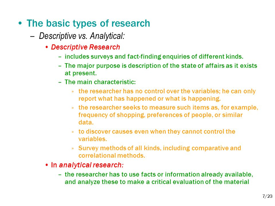 The basic types of research