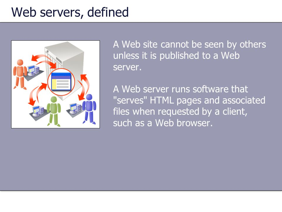 Web servers, defined A Web site cannot be seen by others unless it is published to a Web server.