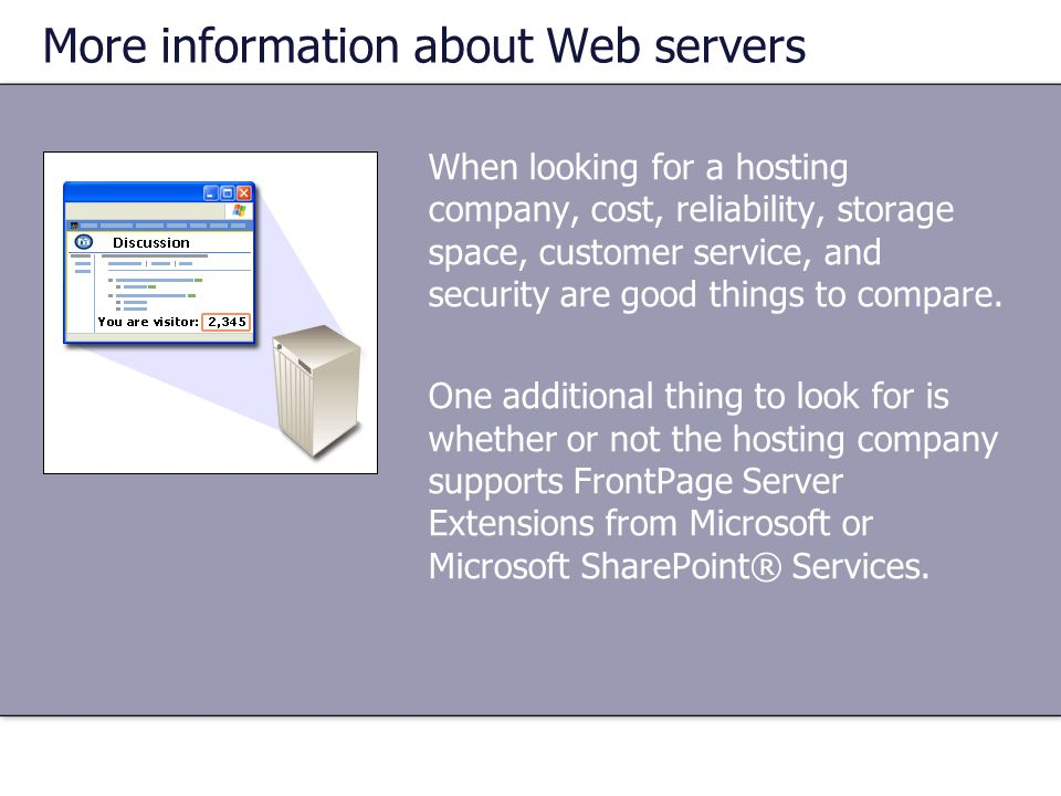 More information about Web servers