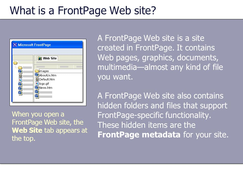 What is a FrontPage Web site