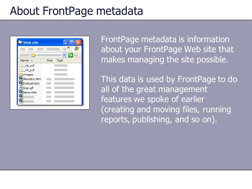 About FrontPage metadata