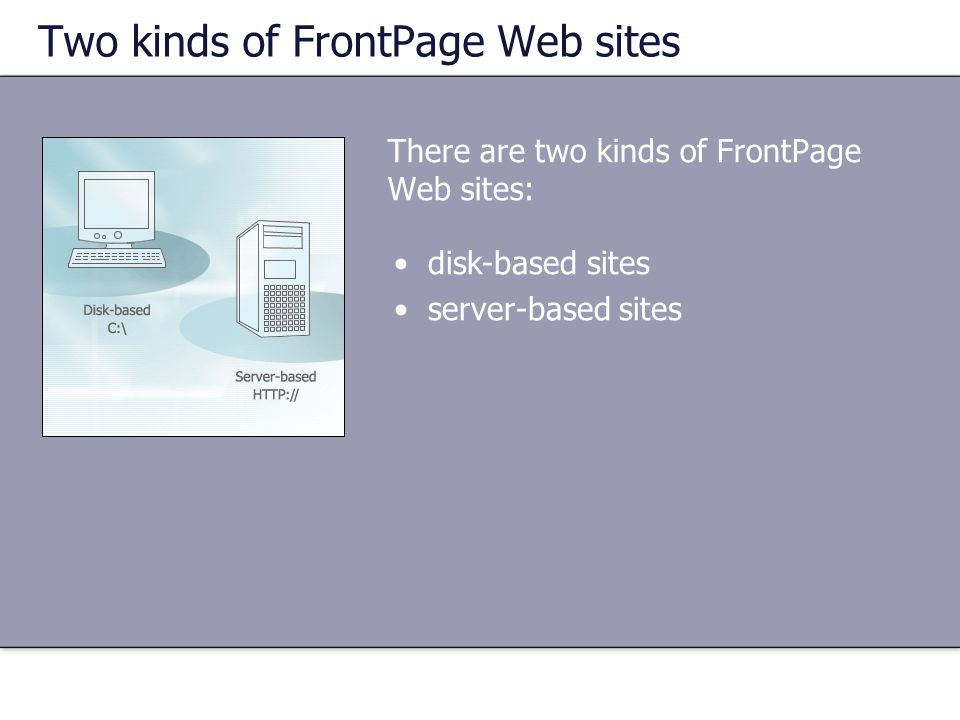 Two kinds of FrontPage Web sites