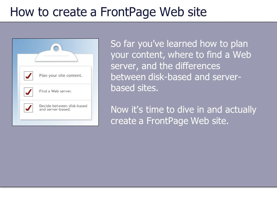 How to create a FrontPage Web site