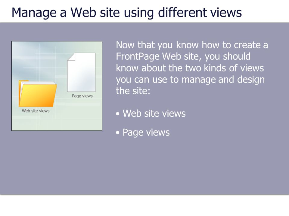 Manage a Web site using different views