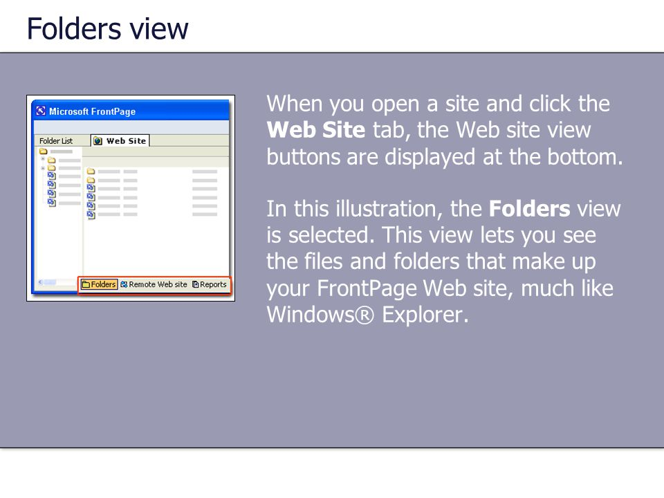 Folders view When you open a site and click the Web Site tab, the Web site view buttons are displayed at the bottom.