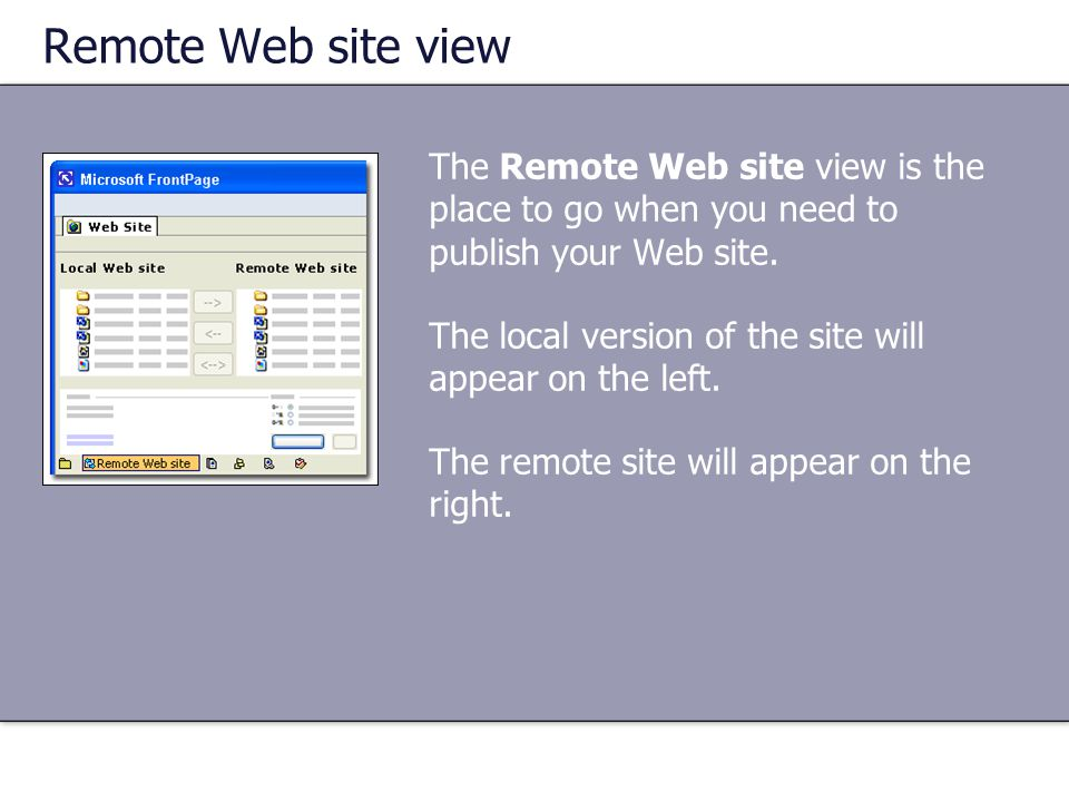 Remote Web site view The Remote Web site view is the place to go when you need to publish your Web site.