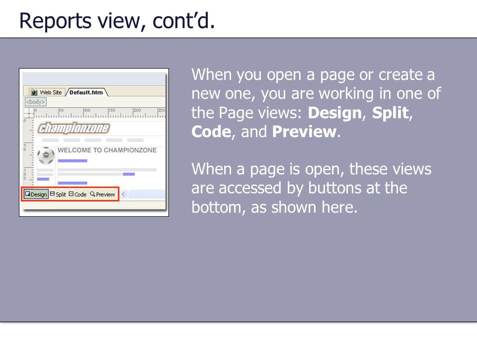Reports view, cont'd. When you open a page or create a new one, you are working in one of the Page views: Design, Split, Code, and Preview.