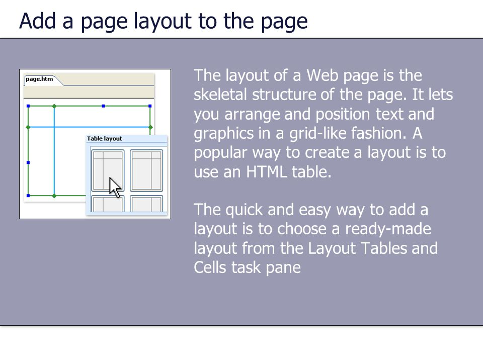 Add a page layout to the page