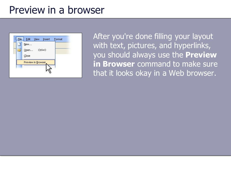 Preview in a browser