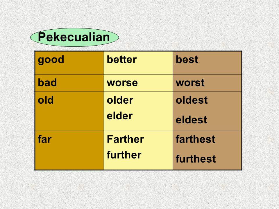 Pekecualian good better best bad worse worst old older elder oldest