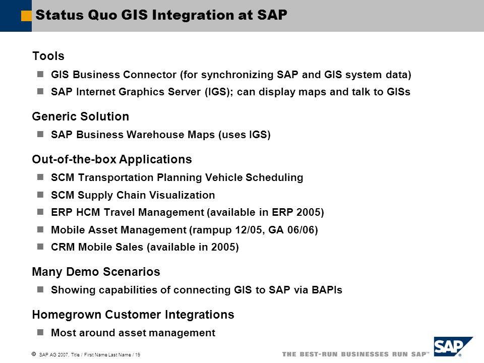 Status Quo GIS Integration at SAP