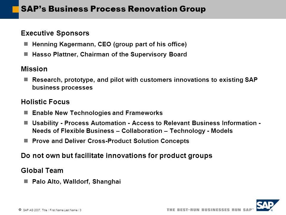 SAP's Business Process Renovation Group