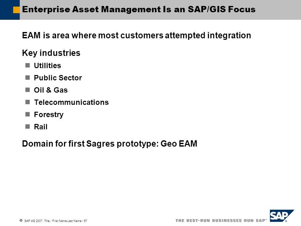 Enterprise Asset Management Is an SAP/GIS Focus