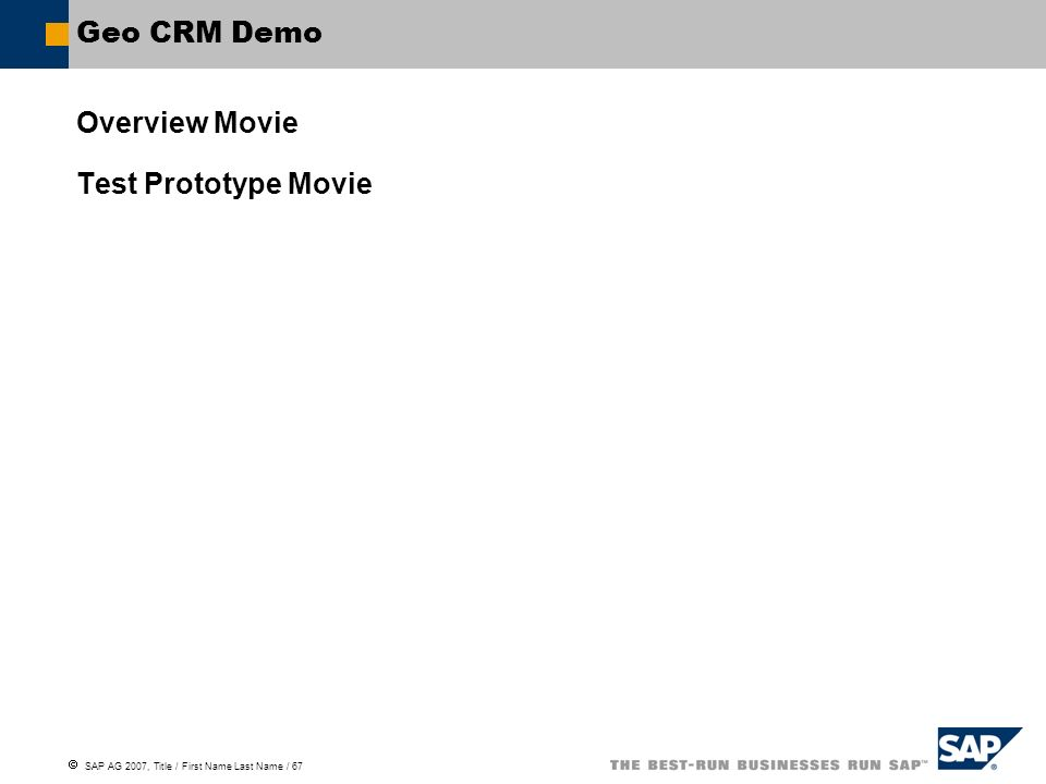 Geo CRM Demo Overview Movie Test Prototype Movie