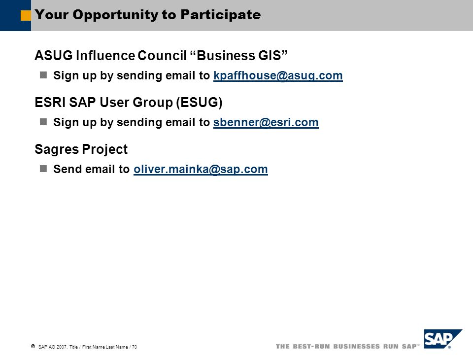 Your Opportunity to Participate
