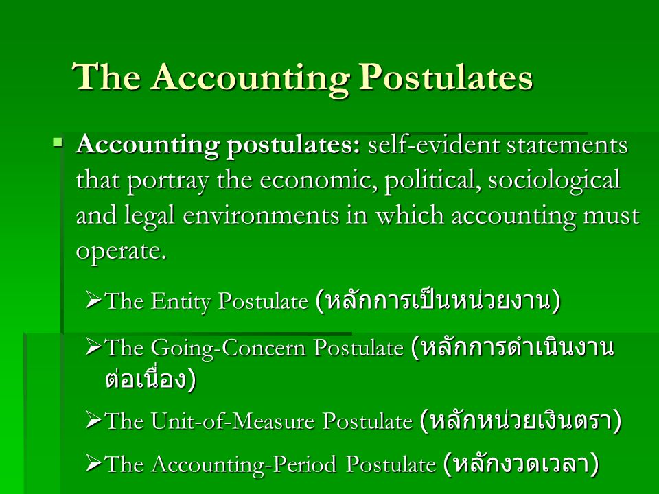 The Accounting Postulates