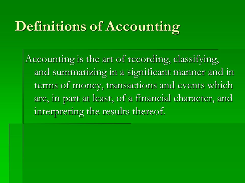 Definitions of Accounting