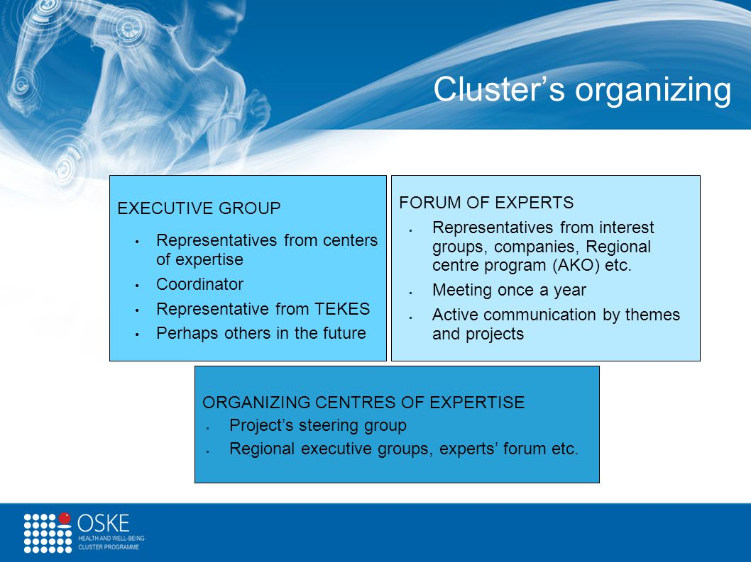 Cluster's organizing EXECUTIVE GROUP