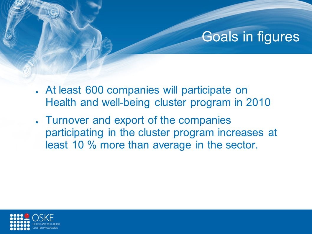 Goals in figures At least 600 companies will participate on Health and well-being cluster program in 2010.