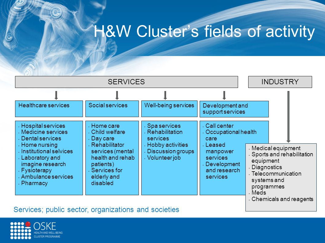 H&W Cluster's fields of activity