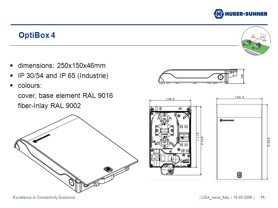 OptiBox 4 dimensions: 250x150x46mm IP 30/54 and IP 65 (Industrie)