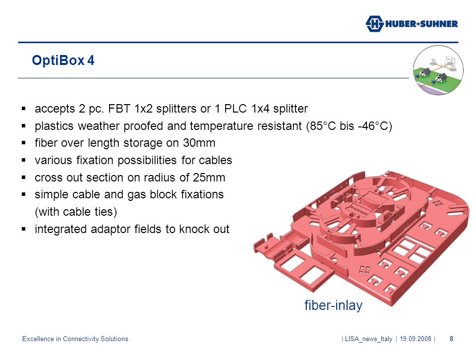 OptiBox 4 accepts 2 pc. FBT 1x2 splitters or 1 PLC 1x4 splitter. plastics weather proofed and temperature resistant (85°C bis -46°C)