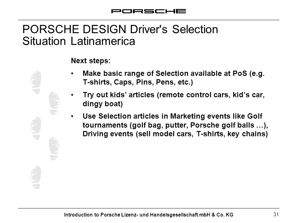 PORSCHE DESIGN Driver s Selection Situation Latinamerica