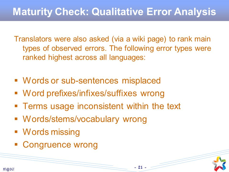 Maturity Check: Qualitative Error Analysis
