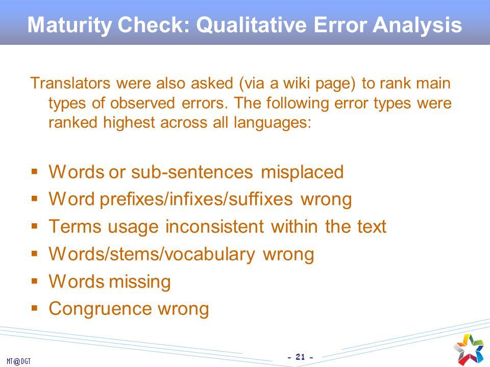 Maturity Check: Qualitative Error Analysis