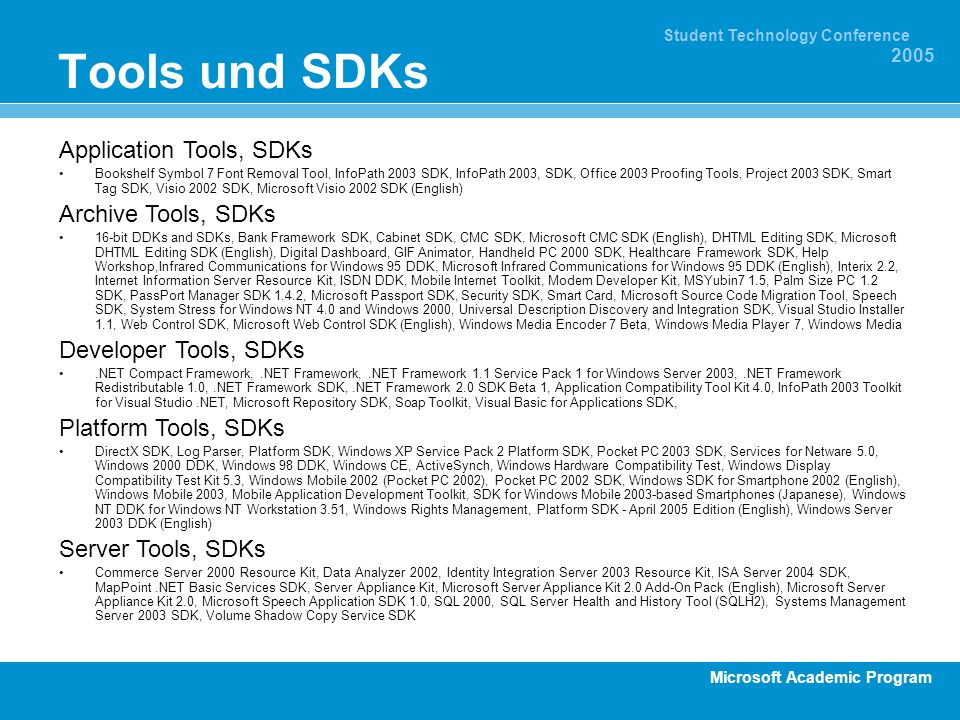Tools und SDKs Application Tools, SDKs Archive Tools, SDKs