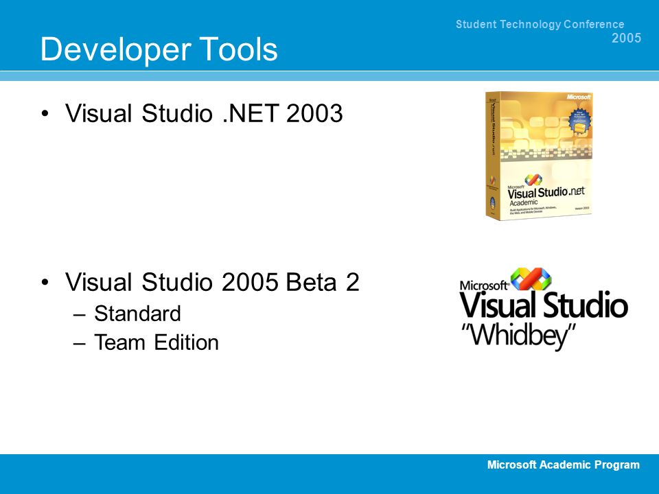Developer Tools Visual Studio .NET 2003 Visual Studio 2005 Beta 2