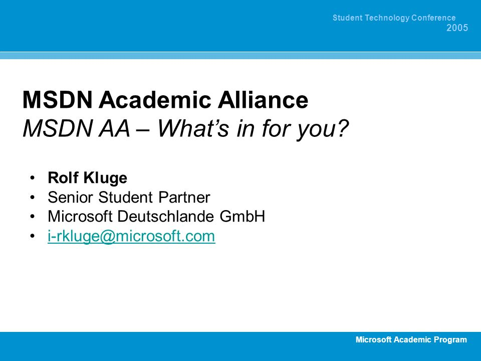 MSDN Academic Alliance MSDN AA – What's in for you