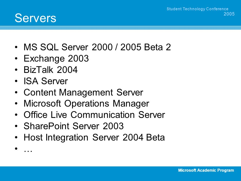 Servers MS SQL Server 2000 / 2005 Beta 2 Exchange 2003 BizTalk 2004