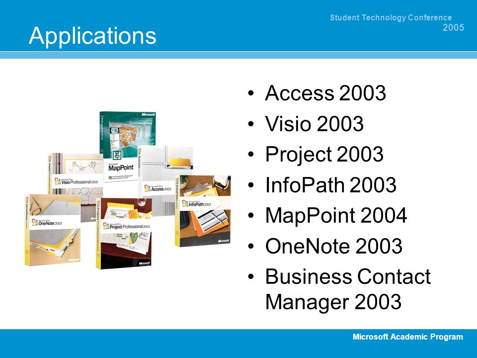 Applications Access 2003 Visio 2003 Project 2003 InfoPath 2003